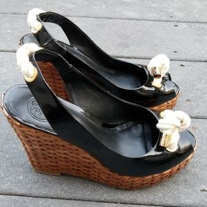 Tory Burch patent espadrille wedge sandals 7/ 7.5